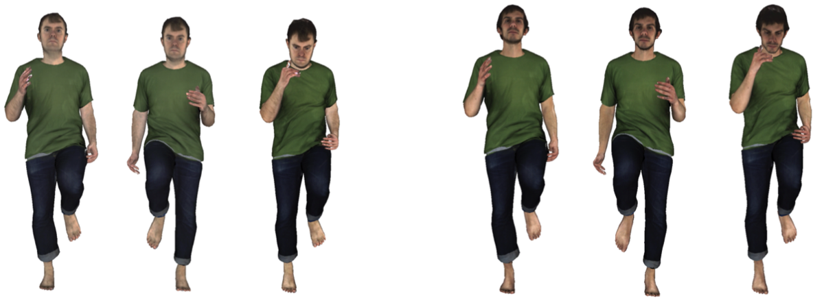Figure 1: ClothCap enables automatic transfer of 3D clothing to new bodies. Captured subject on the left.  Synthetic animation on the right for a new body. Figure 2: Dressing crowds. With ClothCap it is possible to scan a person in clothing once and then visualize such clothing on different bodies.