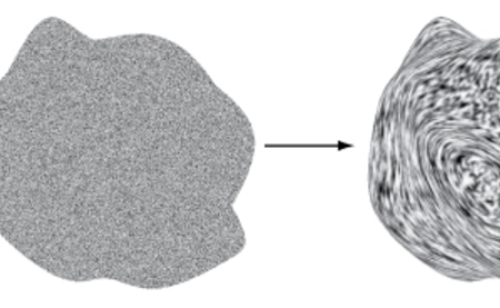 A new illusion in which random noise (left) is made to look like a 3D shape (right). Image Roland Fleming/MPI for Biological Cybernetics