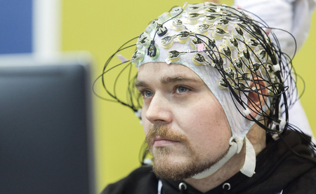 "The pilot Sebastian Reul of the ""Athena-Minerva-Team"", that participated in the ""Brain-Computer-Interface Race"" (Picture credit: ETH Zurich, Nicola Pitaro)."